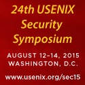 24th USENIX Security Symposium Aug 12-14 D.C.